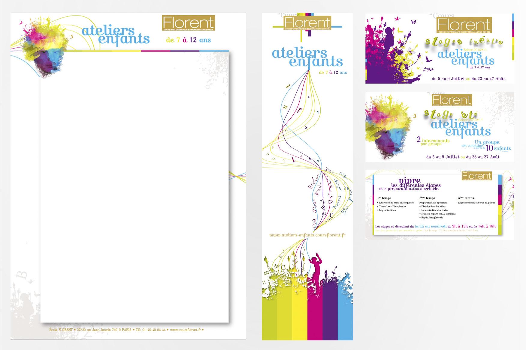Supports imprimés ateliers enfants Cours Florent