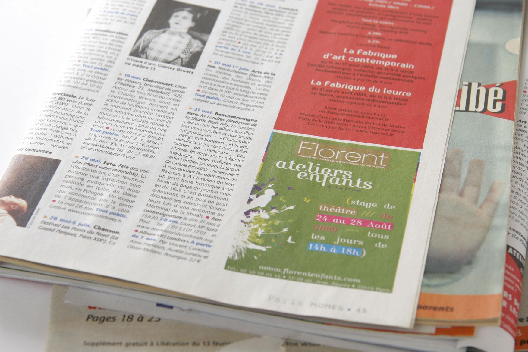 Annonce Presse ateliers enfants Cours Florent