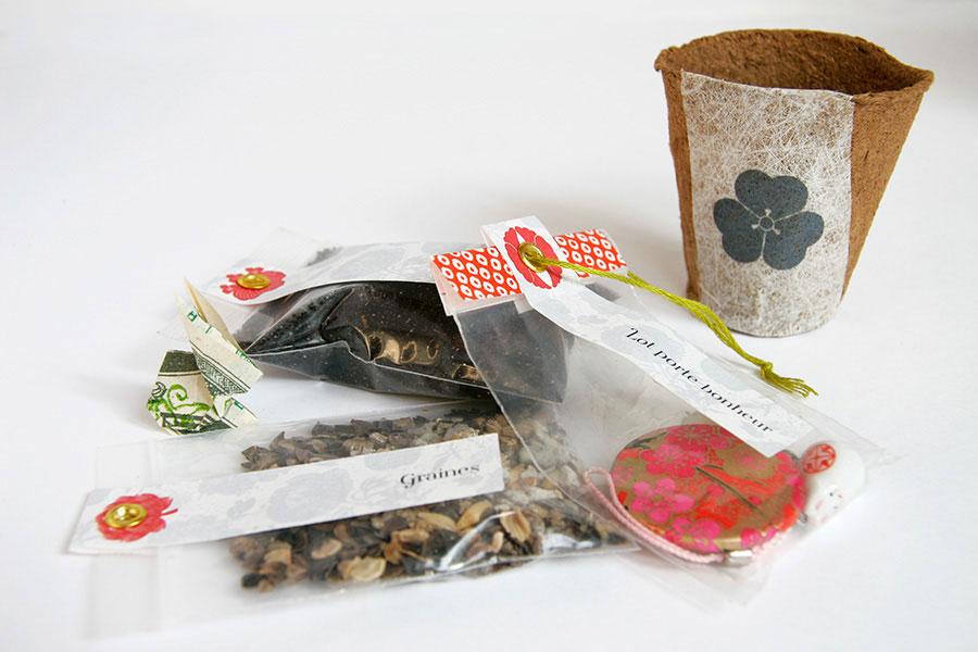 Lots graines + Terreau + Porte bonheur + Pot
